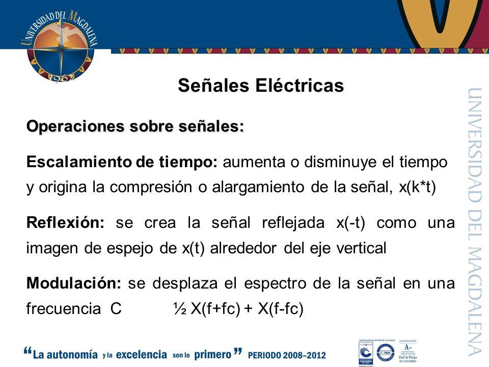 Señales Eléctricas Operaciones sobre señales: Escalamiento de tiempo: aumenta o disminuye el tiempo y origina la compresión o alargamiento de la señal, x(k*t) Reflexión: se crea la señal reflejada x(-t) como una imagen de espejo de x(t) alrededor del eje vertical Modulación: se desplaza el espectro de la señal en una frecuencia C½ X(f+fc) + X(f-fc)
