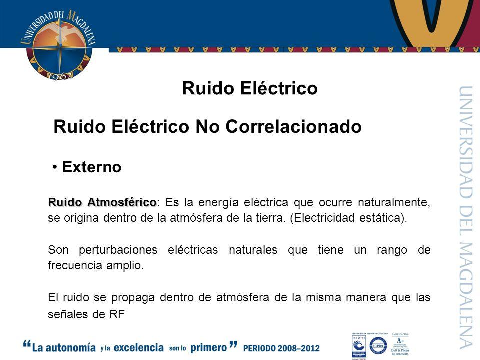 Ruido Eléctrico Ruido Eléctrico No Correlacionado Ruido Atmosférico Ruido Atmosférico: Es la energía eléctrica que ocurre naturalmente, se origina dentro de la atmósfera de la tierra.