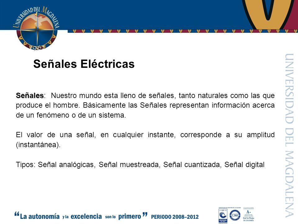 Señal cuantizada Señales Eléctricas Señal analógicasSeñal muestreada Señal digital