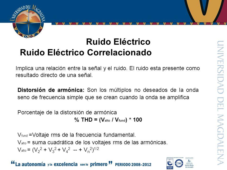 Ruido Eléctrico Distorsión de armónica: Distorsión de armónica: Son los múltiplos no deseados de la onda seno de frecuencia simple que se crean cuando la onda se amplifica Porcentaje de la distorsión de armónica % THD = (V alto / V fund ) * 100 V fund =Voltaje rms de la frecuencia fundamental.