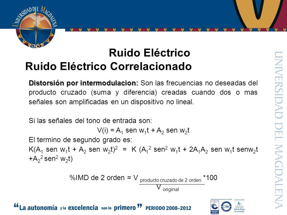 Ruido Eléctrico Ruido Eléctrico Correlacionado Distorsión por intermodulacion: Distorsión por intermodulacion: Son las frecuencias no deseadas del producto cruzado (suma y diferencia) creadas cuando dos o mas señales son amplificadas en un dispositivo no lineal.