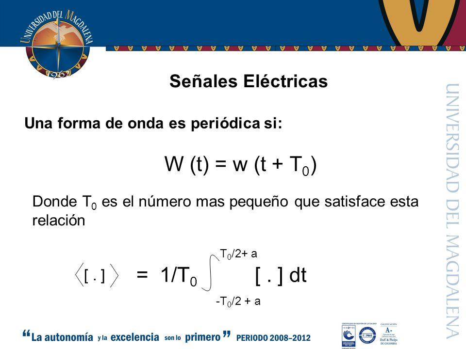 Señales Eléctricas El valor cd de una forma de onda W (t): esta dado por su promedio W cd = lím 1/T w (t) dt Potencia p (t) = v (t) i (t) -T/2 T/2 T