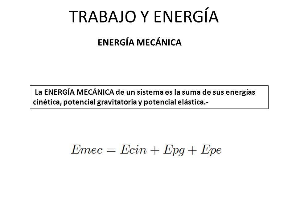 TRABAJO Y ENERGÍA ENERGÍA MECÁNICA La ENERGÍA MECÁNICA de un sistema es la suma de sus energías cinética, potencial gravitatoria y potencial elástica.