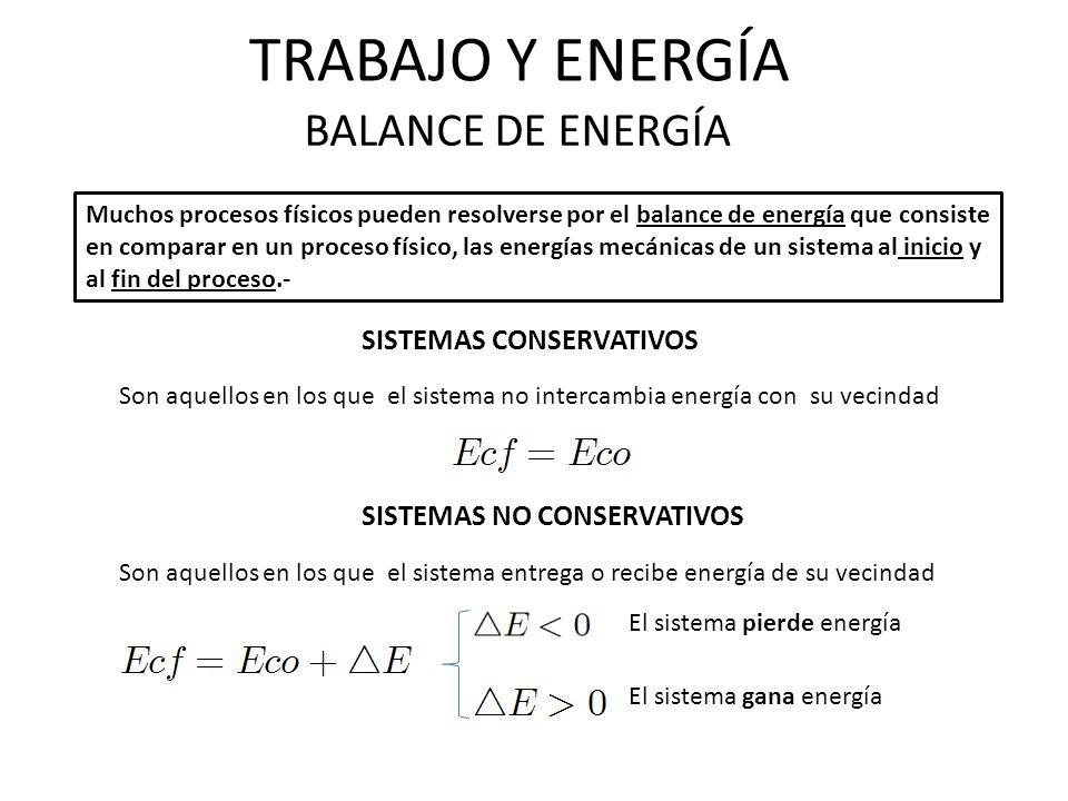 TRABAJO Y ENERGÍA BALANCE DE ENERGÍA Muchos procesos físicos pueden resolverse por el balance de energía que consiste en comparar en un proceso físico