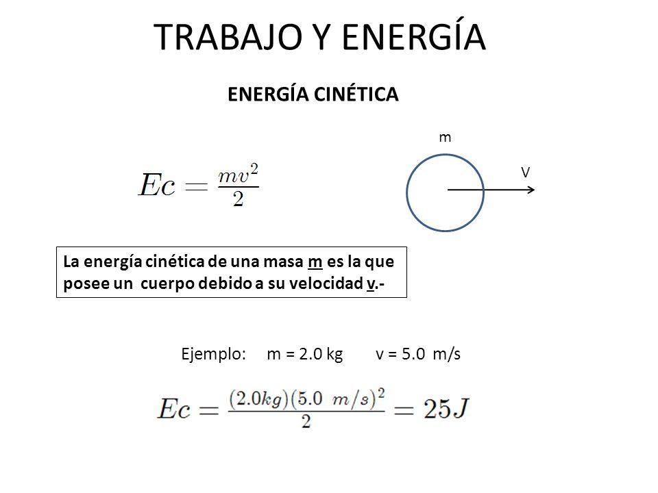 TRABAJO Y ENERGÍA ENERGÍA CINÉTICA V m La energía cinética de una masa m es la que posee un cuerpo debido a su velocidad v.- Ejemplo: m = 2.0 kg v = 5