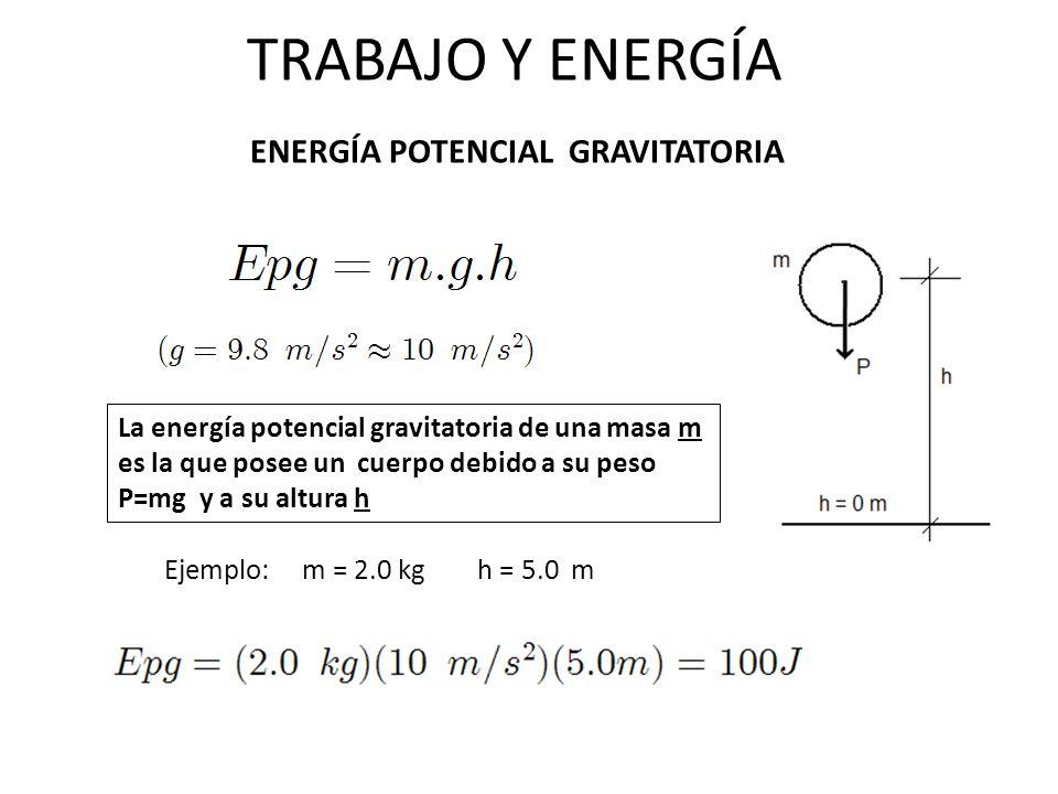 TRABAJO Y ENERGÍA ENERGÍA POTENCIAL GRAVITATORIA La energía potencial gravitatoria de una masa m es la que posee un cuerpo debido a su peso P=mg y a s