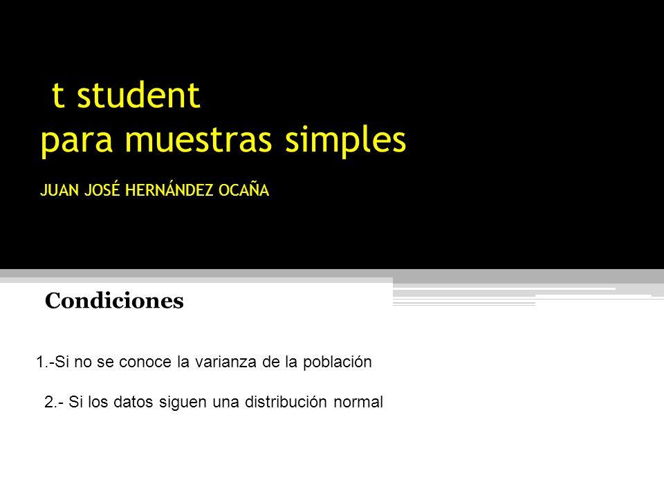 t student para muestras simples JUAN JOSÉ HERNÁNDEZ OCAÑA 1.-Si no se conoce la varianza de la población 2.- Si los datos siguen una distribución norm