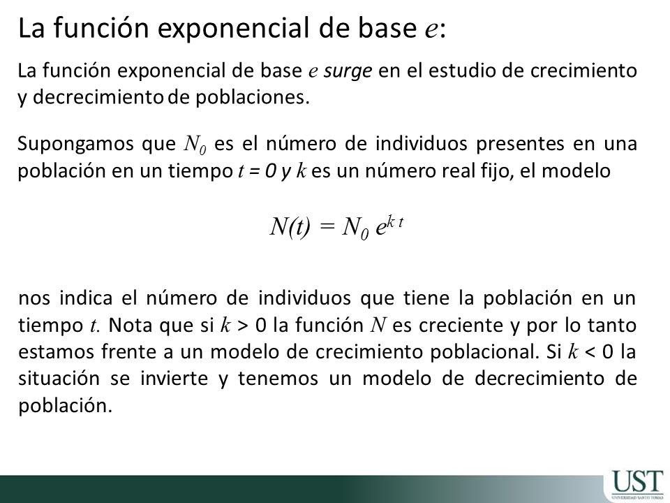 La función exponencial de base e surge en el estudio de crecimiento y decrecimiento de poblaciones. N(t) = N 0 e k t nos indica el número de individuo