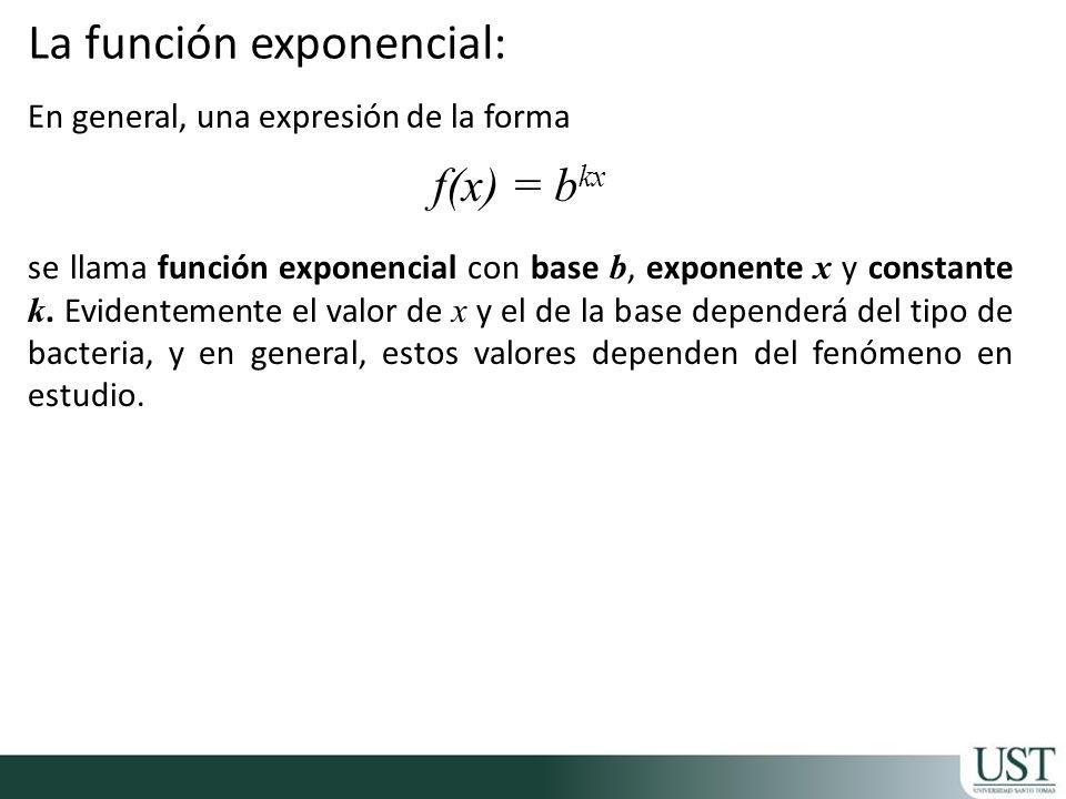 En general, una expresión de la forma f(x) = b kx se llama función exponencial con base b, exponente x y constante k. Evidentemente el valor de x y el