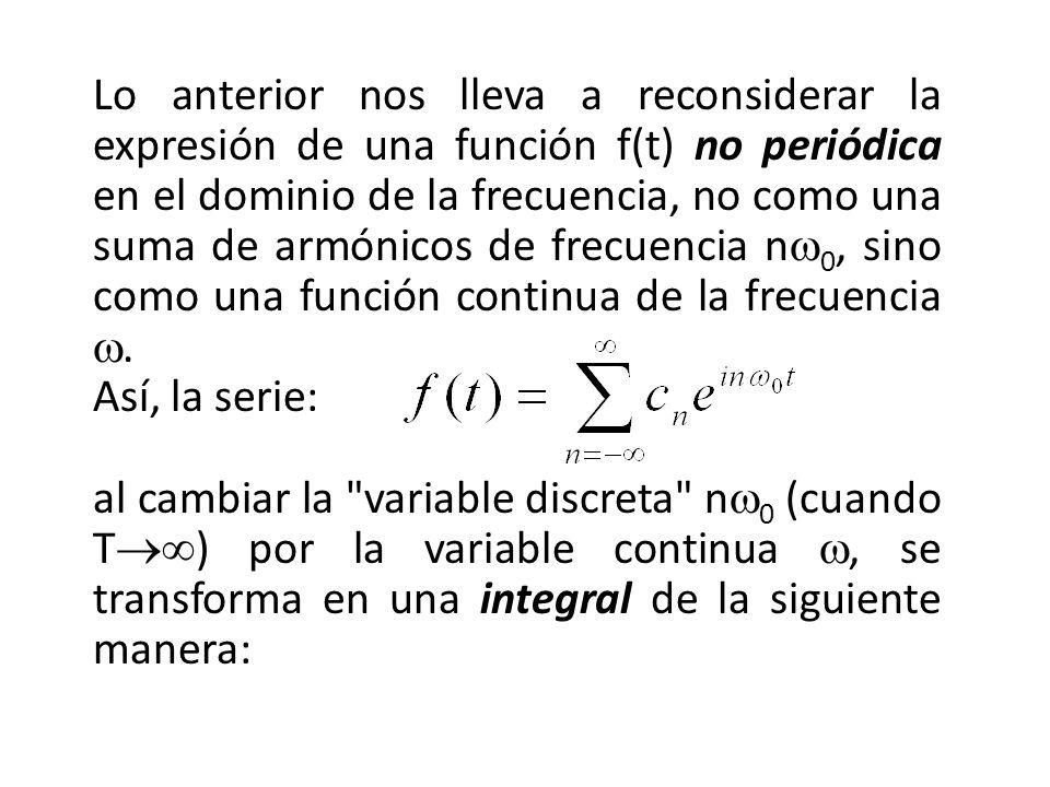Lo anterior nos lleva a reconsiderar la expresión de una función f(t) no periódica en el dominio de la frecuencia, no como una suma de armónicos de frecuencia n 0, sino como una función continua de la frecuencia.