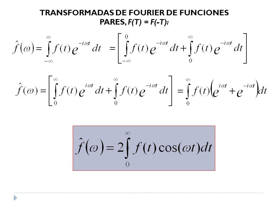 TRANSFORMADAS DE FOURIER DE FUNCIONES PARES, F(T) = F(-T):