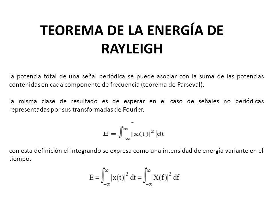 la potencia total de una señal periódica se puede asociar con la suma de las potencias contenidas en cada componente de frecuencia (teorema de Parseva