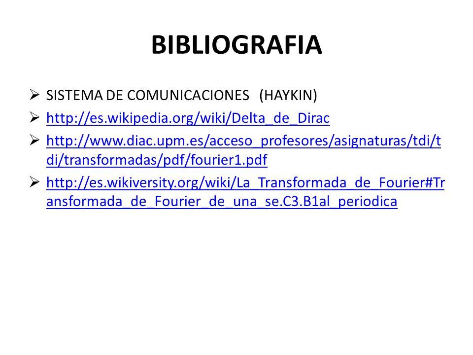 BIBLIOGRAFIA SISTEMA DE COMUNICACIONES (HAYKIN) http://es.wikipedia.org/wiki/Delta_de_Dirac http://www.diac.upm.es/acceso_profesores/asignaturas/tdi/t di/transformadas/pdf/fourier1.pdf http://www.diac.upm.es/acceso_profesores/asignaturas/tdi/t di/transformadas/pdf/fourier1.pdf http://es.wikiversity.org/wiki/La_Transformada_de_Fourier#Tr ansformada_de_Fourier_de_una_se.C3.B1al_periodica http://es.wikiversity.org/wiki/La_Transformada_de_Fourier#Tr ansformada_de_Fourier_de_una_se.C3.B1al_periodica