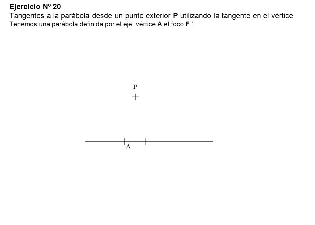 Ejercicio Nº 20 Tangentes a la parábola desde un punto exterior P utilizando la tangente en el vértice Tenemos una parábola definida por el eje, vértice A el foco F .