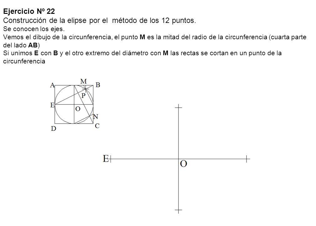 Ejercicio Nº 22 Construcción de la elipse por el método de los 12 puntos. Se conocen los ejes. Vemos el dibujo de la circunferencia, el punto M es la