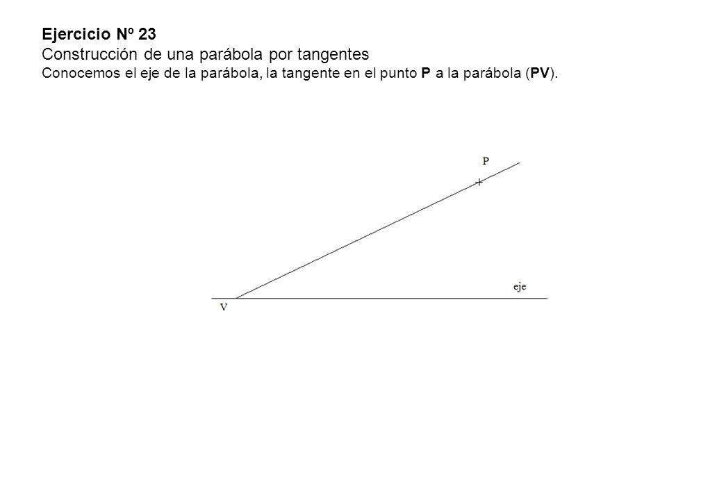 Ejercicio Nº 23 Construcción de una parábola por tangentes Conocemos el eje de la parábola, la tangente en el punto P a la parábola (PV).