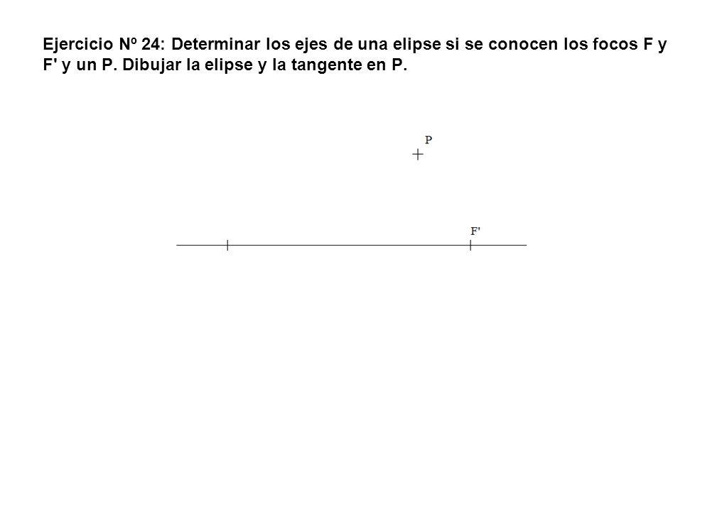 Ejercicio Nº 24: Determinar los ejes de una elipse si se conocen los focos F y F' y un P. Dibujar la elipse y la tangente en P.