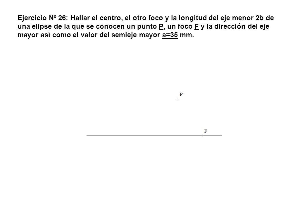 Ejercicio Nº 26: Hallar el centro, el otro foco y la longitud del eje menor 2b de una elipse de la que se conocen un punto P, un foco F y la dirección