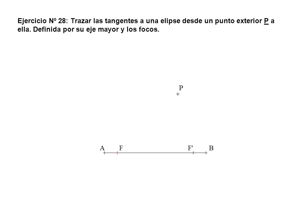 Ejercicio Nº 28: Trazar las tangentes a una elipse desde un punto exterior P a ella. Definida por su eje mayor y los focos.