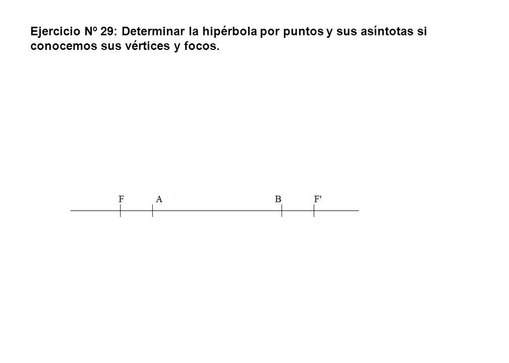 Ejercicio Nº 29: Determinar la hipérbola por puntos y sus asíntotas si conocemos sus vértices y focos.