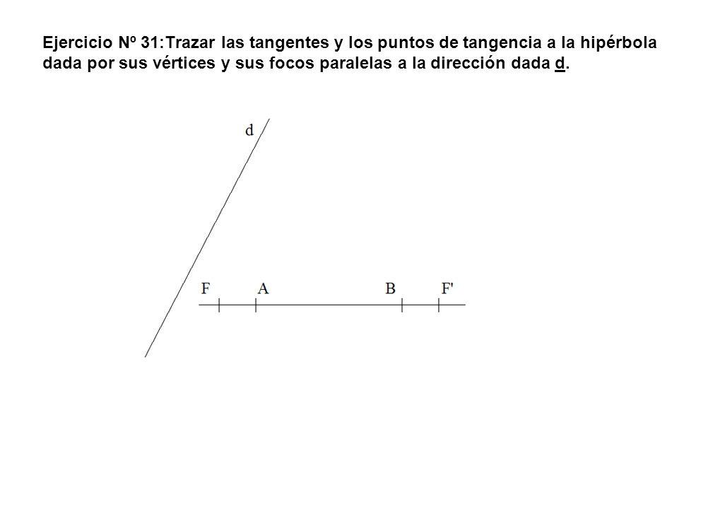 Ejercicio Nº 31:Trazar las tangentes y los puntos de tangencia a la hipérbola dada por sus vértices y sus focos paralelas a la dirección dada d.