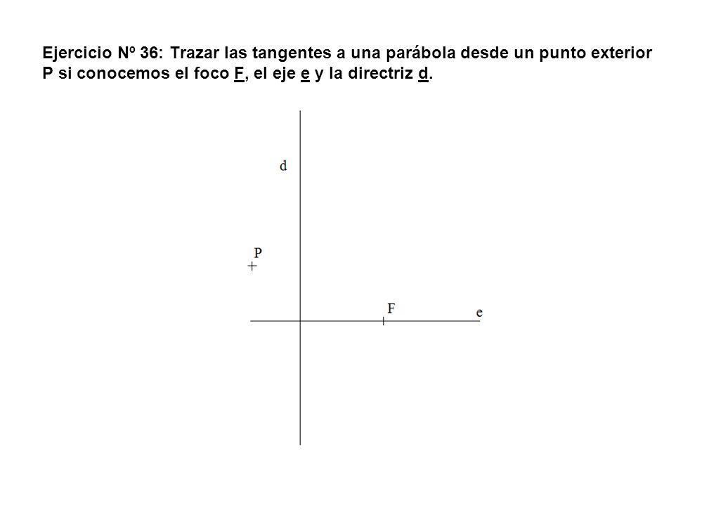 Ejercicio Nº 36: Trazar las tangentes a una parábola desde un punto exterior P si conocemos el foco F, el eje e y la directriz d.