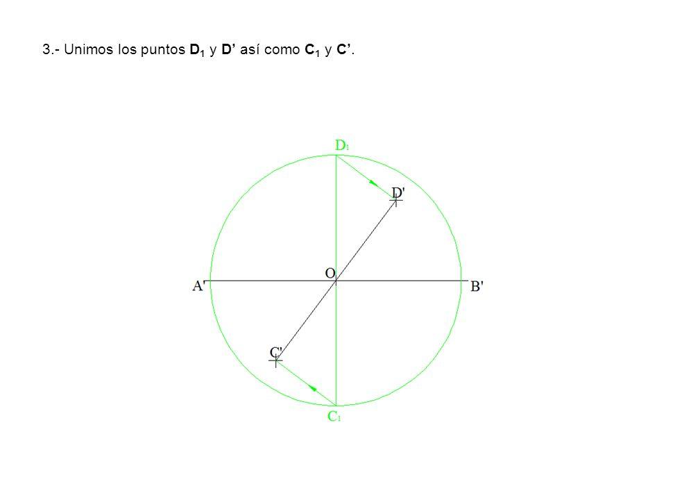 3.- Unimos los puntos D 1 y D así como C 1 y C.