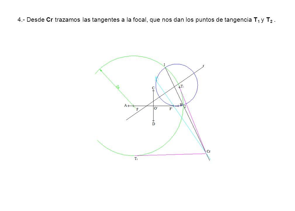 4.- Desde Cr trazamos las tangentes a la focal, que nos dan los puntos de tangencia T 1 y T 2.