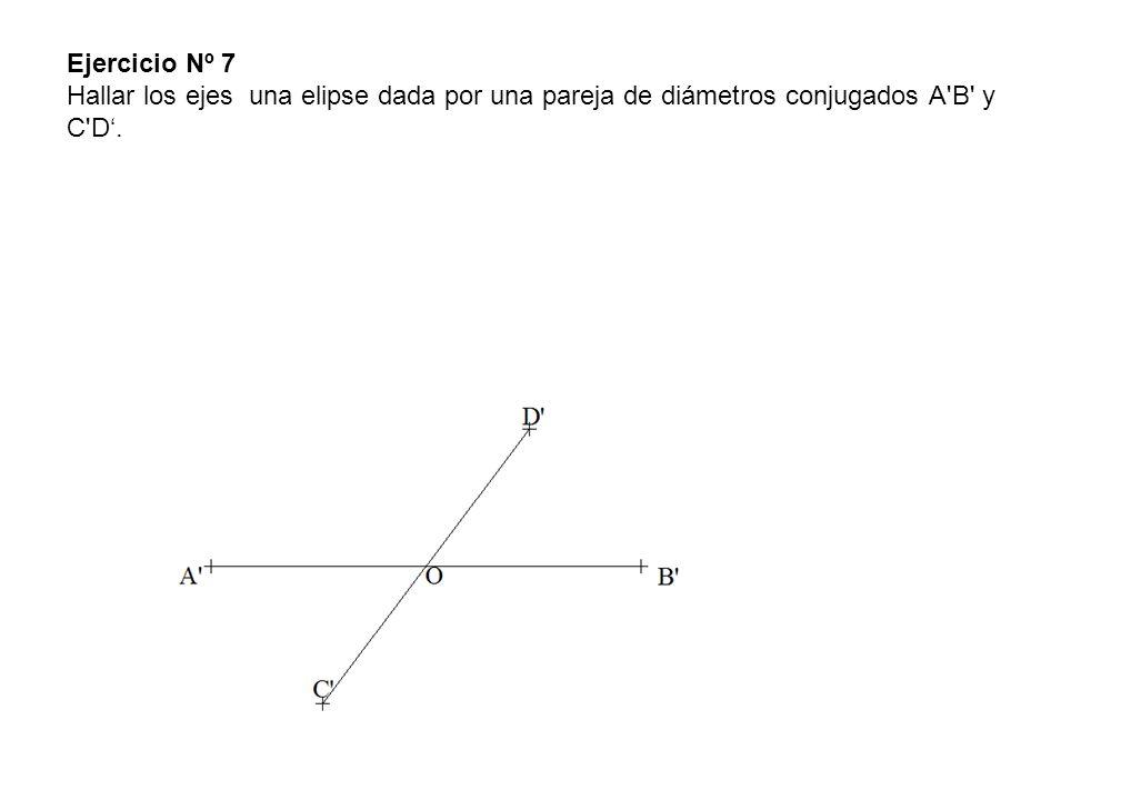 Ejercicio Nº 7 Hallar los ejes una elipse dada por una pareja de diámetros conjugados A'B' y C'D.
