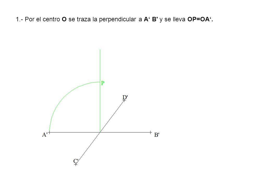 1.- Por el centro O se traza la perpendicular a A B y se lleva OP=OA.