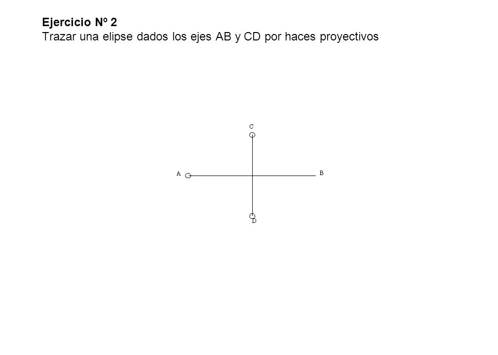 Ejercicio Nº 2 Trazar una elipse dados los ejes AB y CD por haces proyectivos