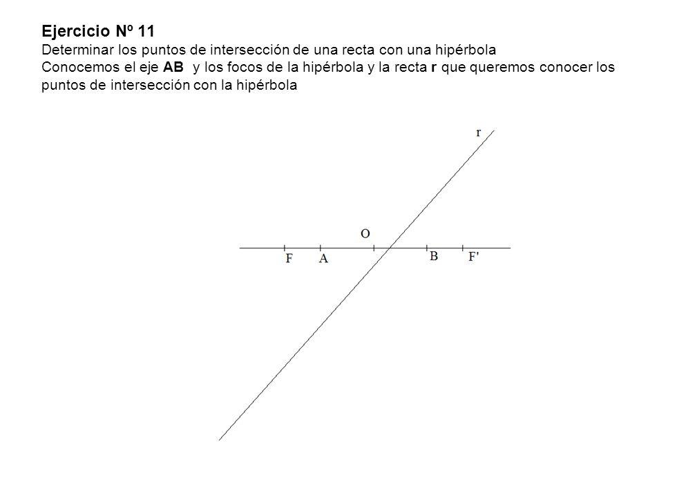 Ejercicio Nº 11 Determinar los puntos de intersección de una recta con una hipérbola Conocemos el eje AB y los focos de la hipérbola y la recta r que queremos conocer los puntos de intersección con la hipérbola
