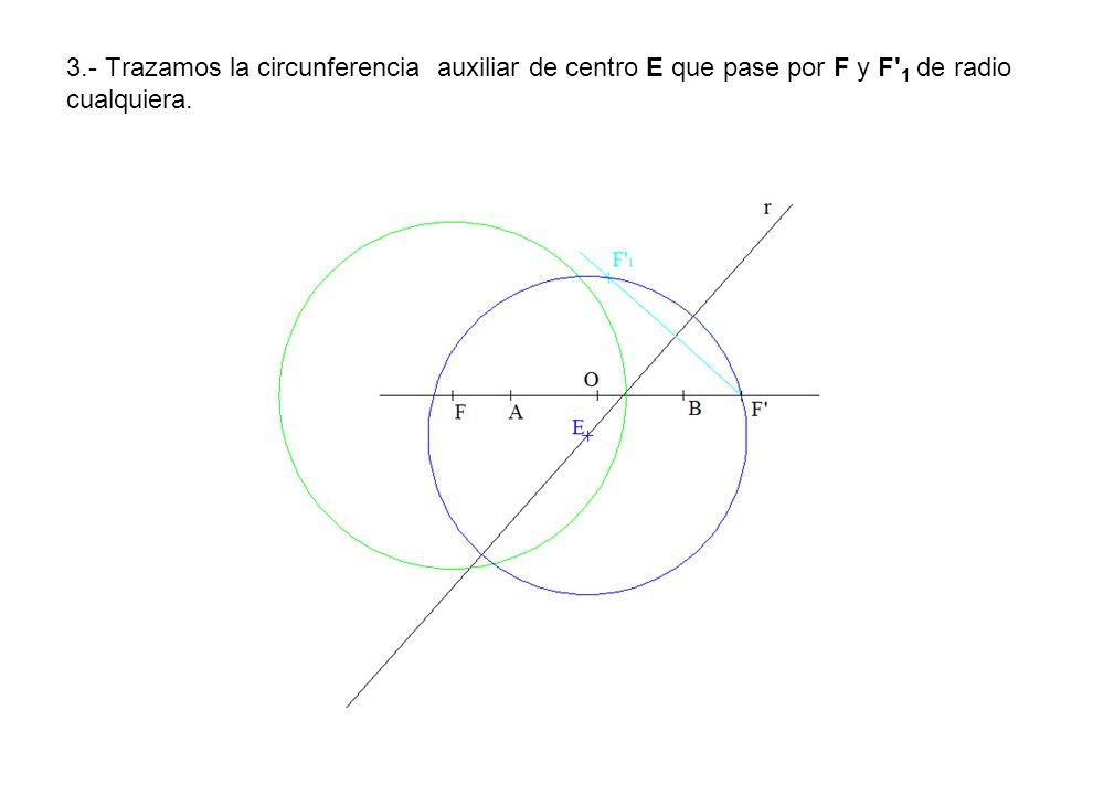 3.- Trazamos la circunferencia auxiliar de centro E que pase por F y F' 1 de radio cualquiera.