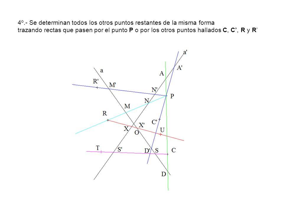 4º.- Se determinan todos los otros puntos restantes de la misma forma trazando rectas que pasen por el punto P o por los otros puntos hallados C, C, R