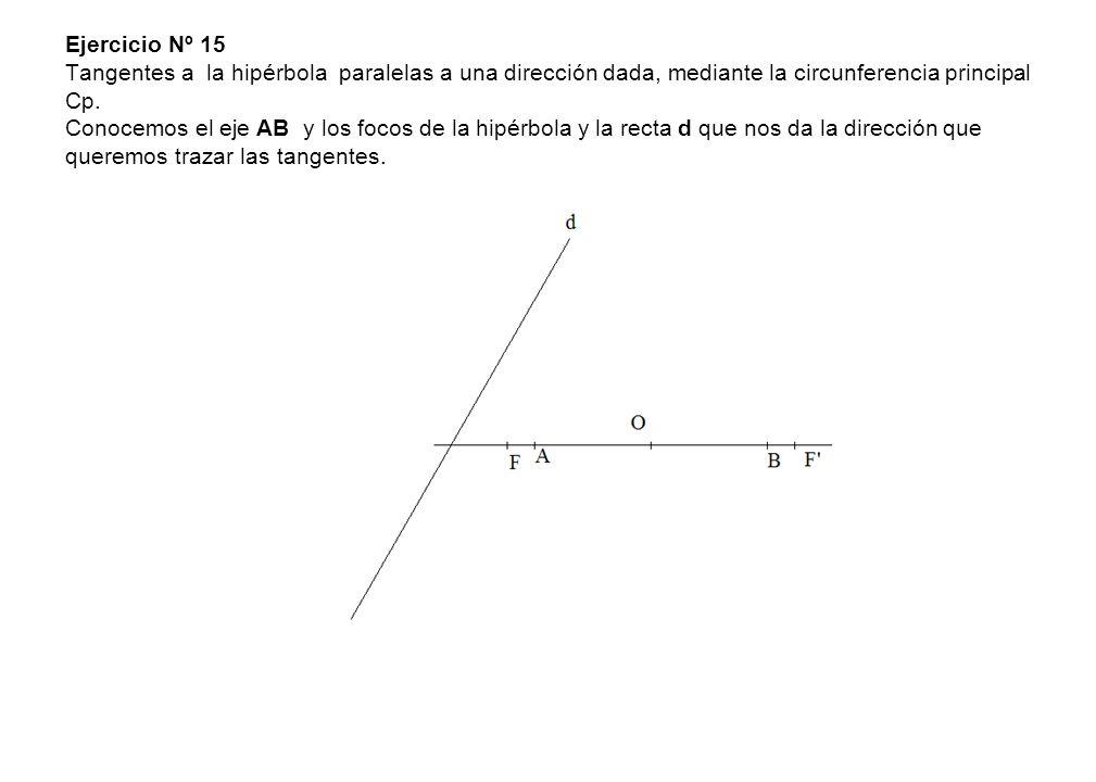 Ejercicio Nº 15 Tangentes a la hipérbola paralelas a una dirección dada, mediante la circunferencia principal Cp. Conocemos el eje AB y los focos de l