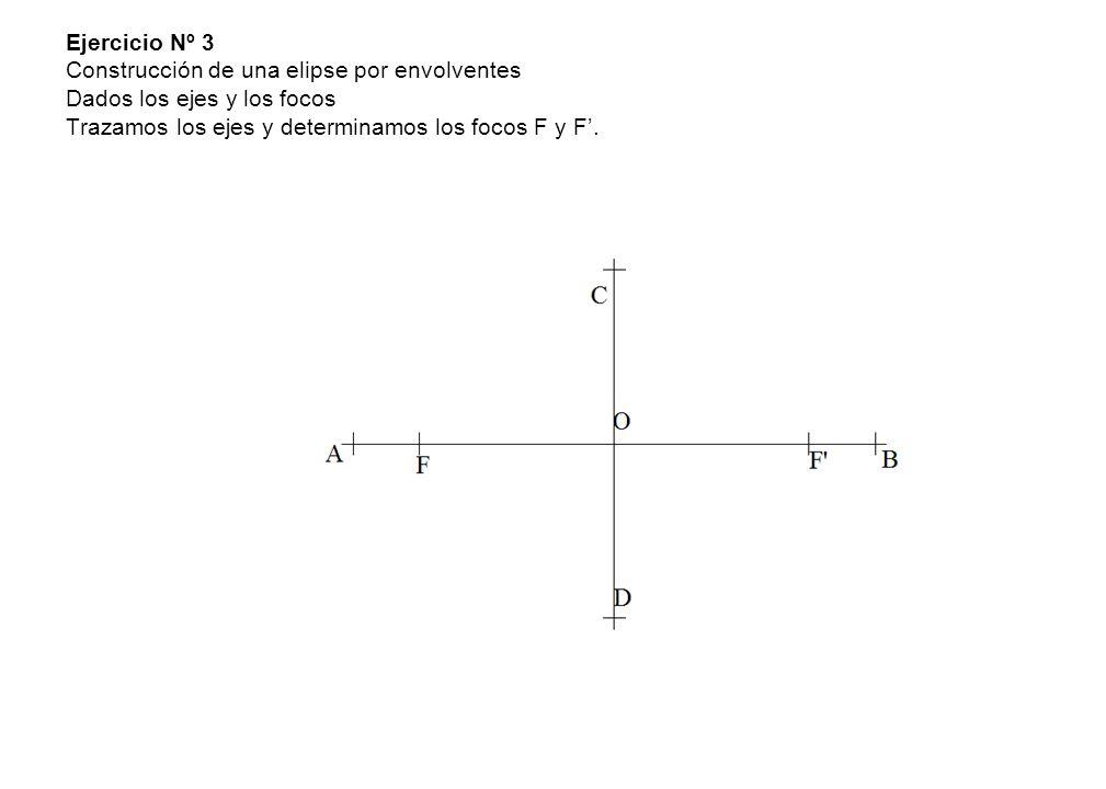 Ejercicio Nº 3 Construcción de una elipse por envolventes Dados los ejes y los focos Trazamos los ejes y determinamos los focos F y F.