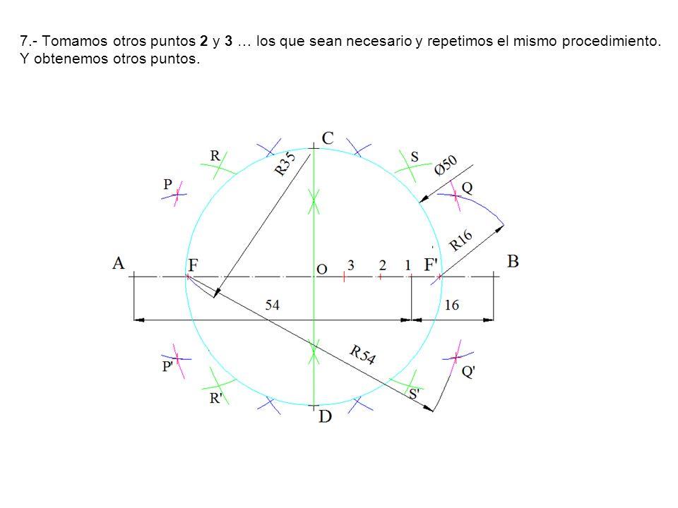 7.- Tomamos otros puntos 2 y 3 … los que sean necesario y repetimos el mismo procedimiento. Y obtenemos otros puntos.