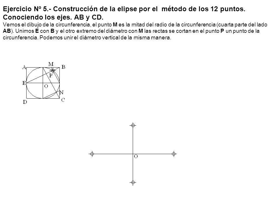 Ejercicio Nº 5.- Construcción de la elipse por el método de los 12 puntos. Conociendo los ejes. AB y CD. Vemos el dibujo de la circunferencia, el punt