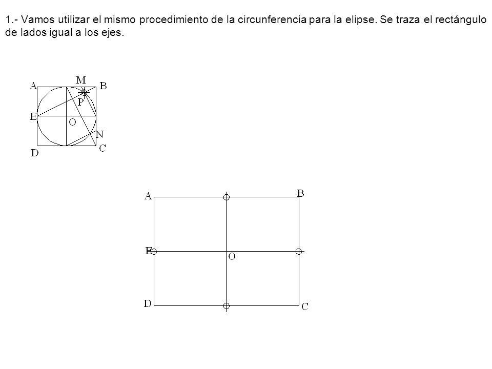 1.- Vamos utilizar el mismo procedimiento de la circunferencia para la elipse. Se traza el rectángulo de lados igual a los ejes.