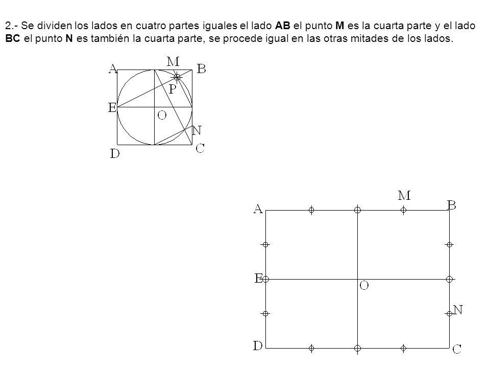 2.- Se dividen los lados en cuatro partes iguales el lado AB el punto M es la cuarta parte y el lado BC el punto N es también la cuarta parte, se proc