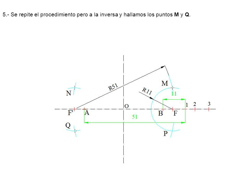 5.- Se repite el procedimiento pero a la inversa y hallamos los puntos M y Q.