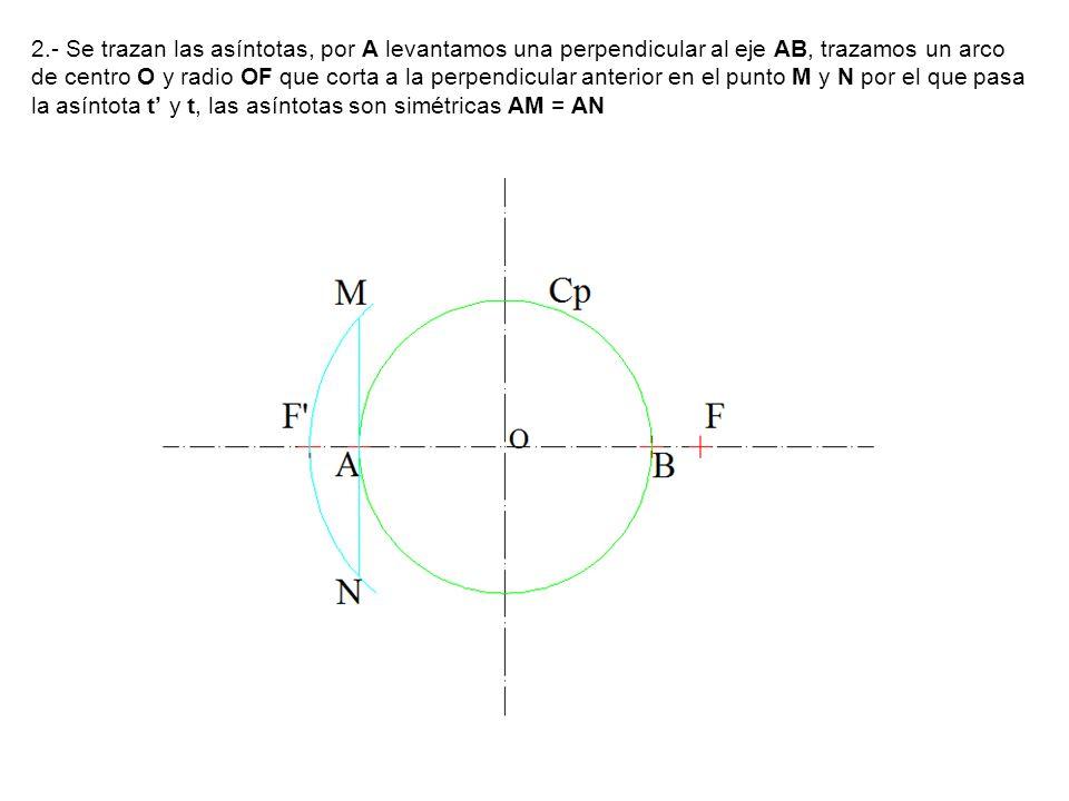 2.- Se trazan las asíntotas, por A levantamos una perpendicular al eje AB, trazamos un arco de centro O y radio OF que corta a la perpendicular anterior en el punto M y N por el que pasa la asíntota t y t, las asíntotas son simétricas AM = AN