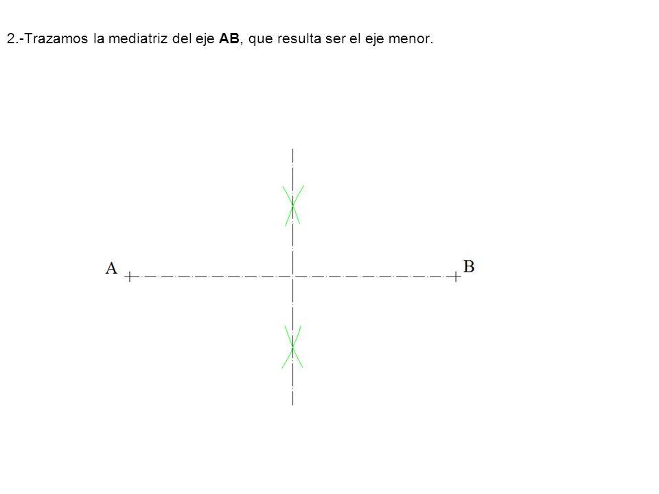 1.- Trazamos la tangente en el vértice VN y la paralela PN al eje.