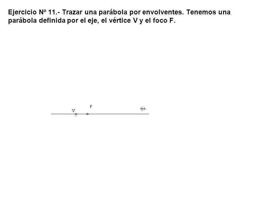 Ejercicio Nº 11.- Trazar una parábola por envolventes. Tenemos una parábola definida por el eje, el vértice V y el foco F.
