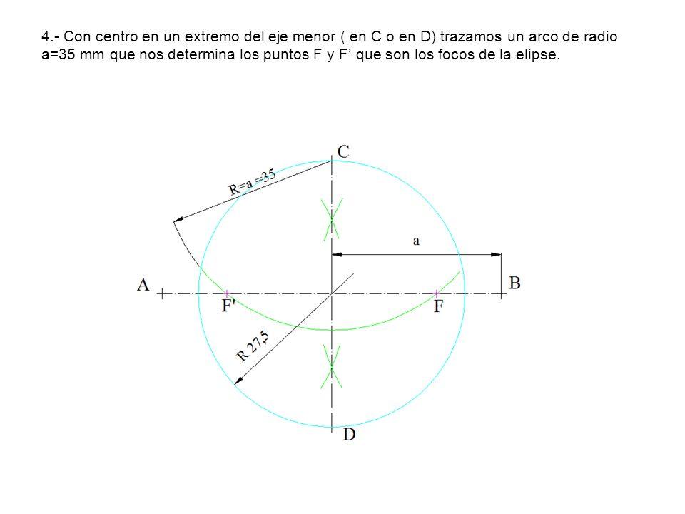 1.-Se trazan las circunferencias de diámetro 2a y 2b respectivamente.