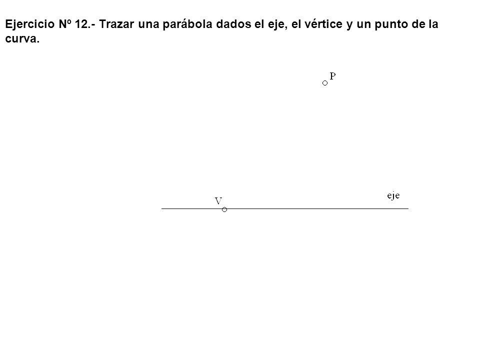 Ejercicio Nº 12.- Trazar una parábola dados el eje, el vértice y un punto de la curva.