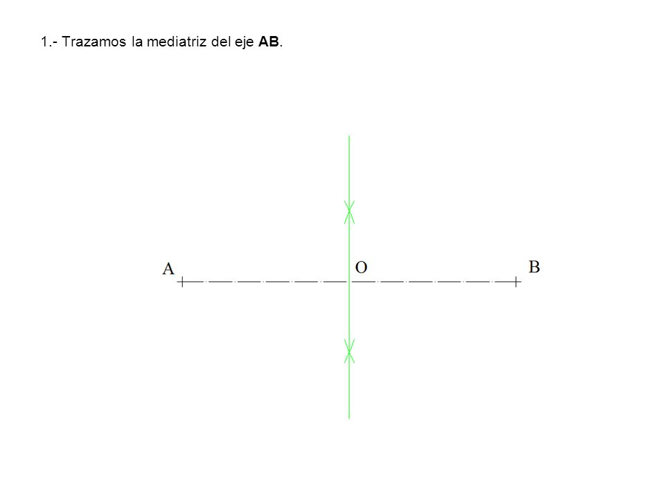 2.- Con centro en O trazamos una circunferencia de diámetro 50 mm, que nos determina los puntos C y D extremos del eje menor.