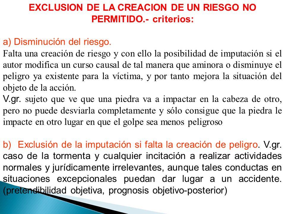 EXCLUSION DE LA CREACION DE UN RIESGO NO PERMITIDO.- criterios: a) Disminución del riesgo.