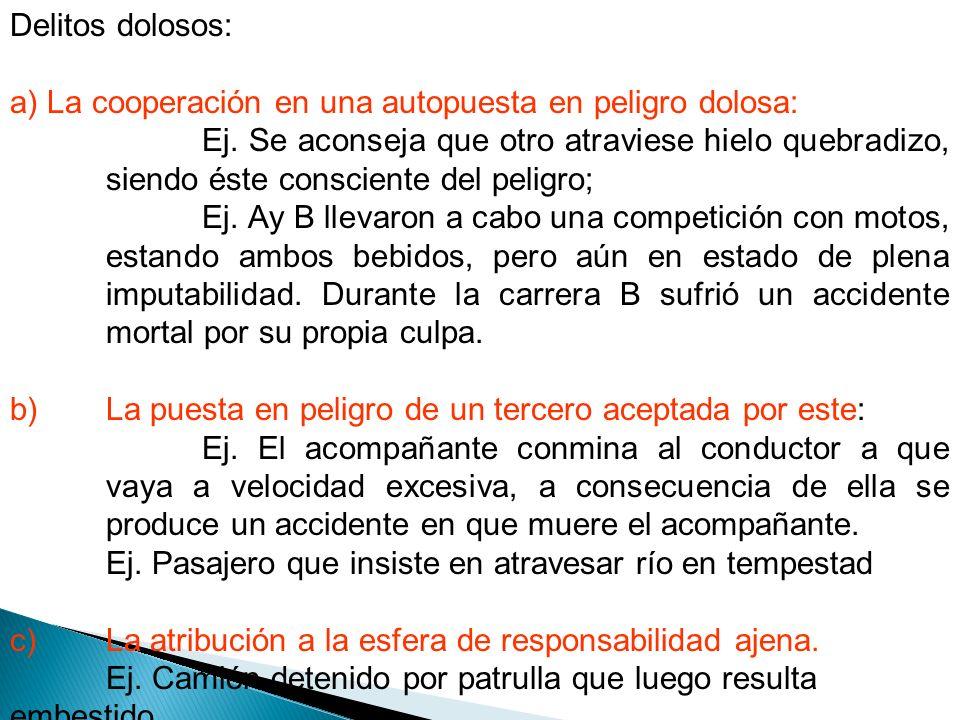 Delitos dolosos: a) La cooperación en una autopuesta en peligro dolosa: Ej.
