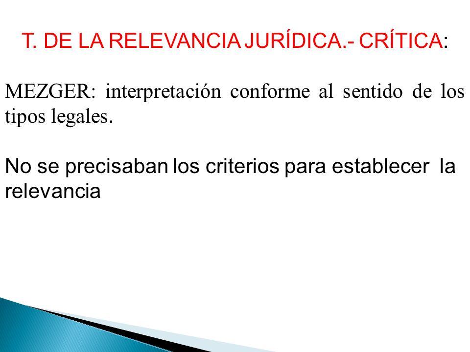 T. DE LA RELEVANCIA JURÍDICA.- CRÍTICA: MEZGER: interpretación conforme al sentido de los tipos legales. No se precisaban los criterios para establece